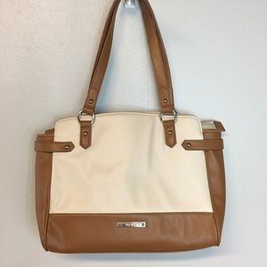 [Nine West] Brown & Ivory Tote Handbag